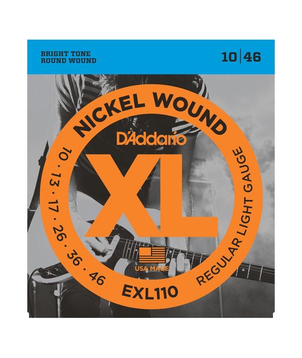 Jeu de cordes électriques Nickel Wound Light 10-46 filé rond nickel