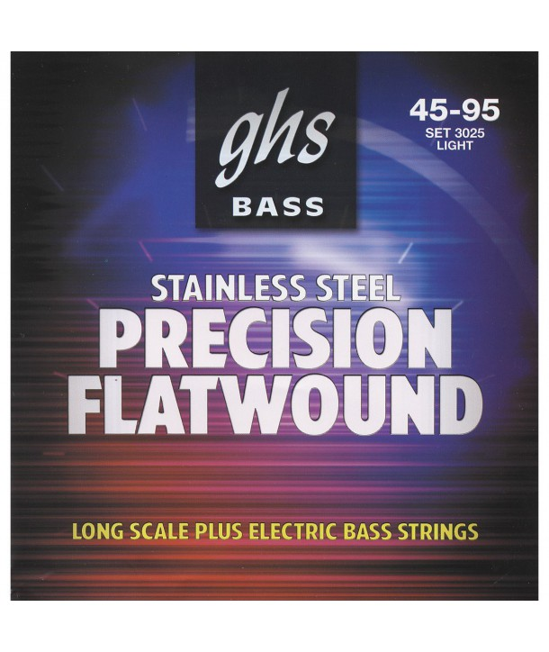 Jeu de cordes FLAT Précision basse filé plat Light 45-95 STAINLESS STEEL