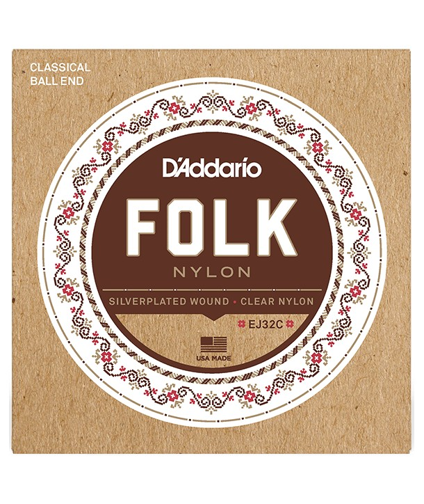 Classical strings set Folk Nylon Ball En, Silver Wound/Black Nylon Trebles
